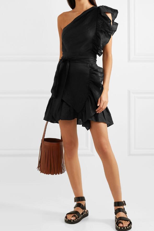Blanco negro Teller Lino Mini vestido en el hombro con volantes sin mangas cintura cinturón atado moda Vestido corto Mujer-in Vestidos from Ropa de mujer    1