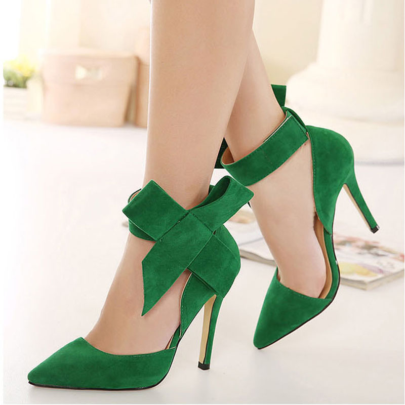 New Thin High Heels font b Women b font Pumps Sexy Pointed Toe Removable Bowtie Party