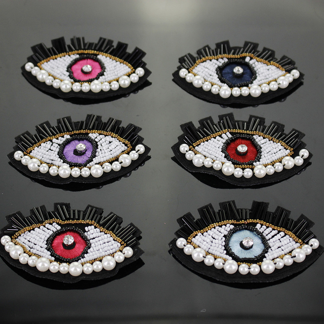 3pcs eyes Patch for Clothes Sewing on Rhinestone Beaded Applique for Jackets  Jeans Bags Shoes Beading 4671a1e42344