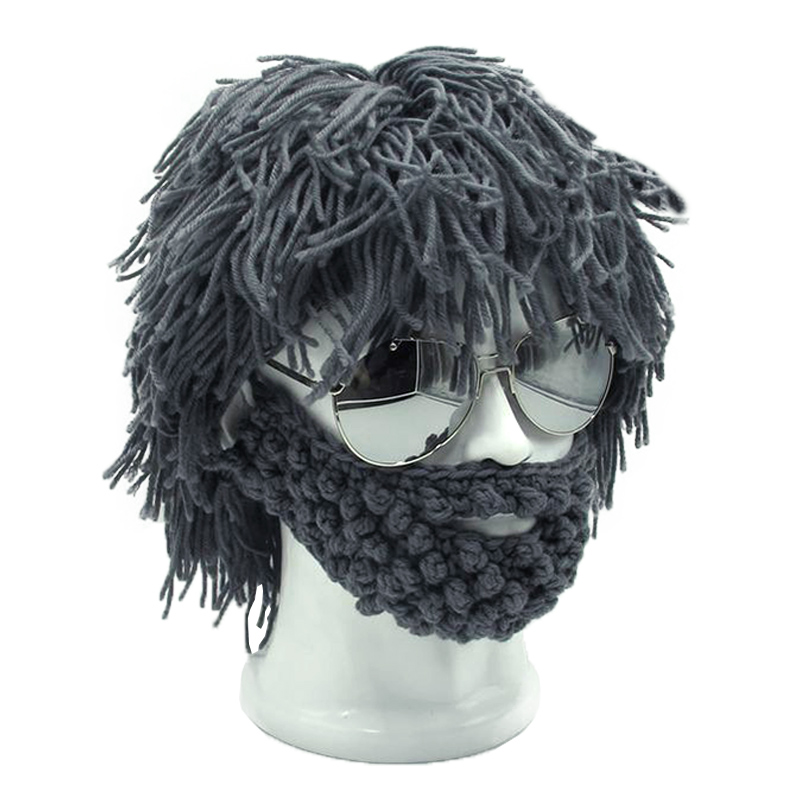 Wig Beard Hats Mad Caveman Handmade Knit Warm Winter Caps Men Women Halloween Gifts Funny Party Beanies