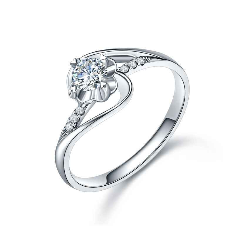ZHJIASHUN Forever Brilliant 0.5ct кольцо с алмазом Moissanite кольца Soild 10K белое золото обручальные кольца для женщин ювелирные изделия
