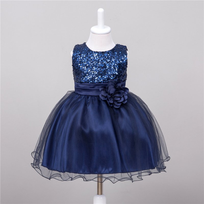 Summer Baby Dresses Girls Sequin Flower Bowknot Birthday