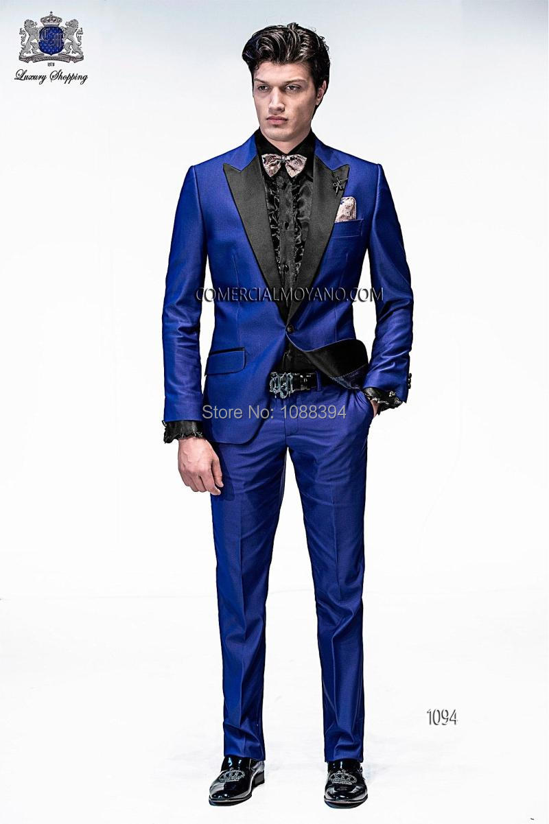 Aliexpress.com : Buy Custom Made Men's Suits 2016 Black Peak Lapel ...
