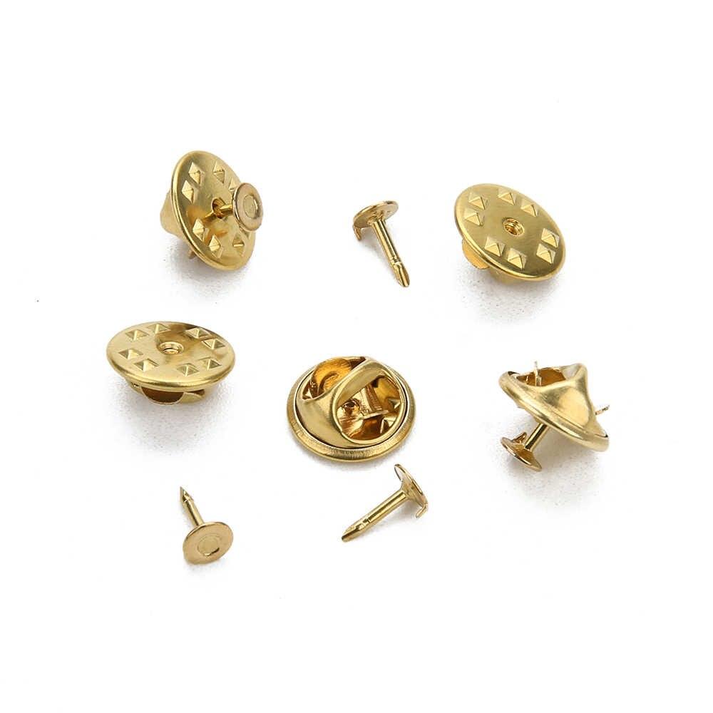 50 個ゴールドロジウム色銅ネイルネクタイタックラペルピンバッククラッチ散布蝶クラスプスクイズバッジホルダー DIY ジュエリー