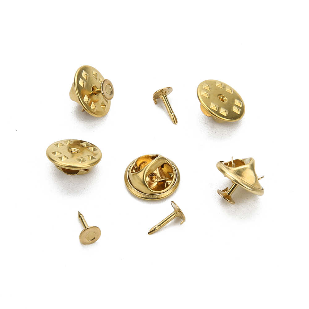 50 Uds color rodio oro clavos de cobre corbata solapa Pin Back embrague Scatter mariposa broche Squeeze Badge Holder DIY joyería