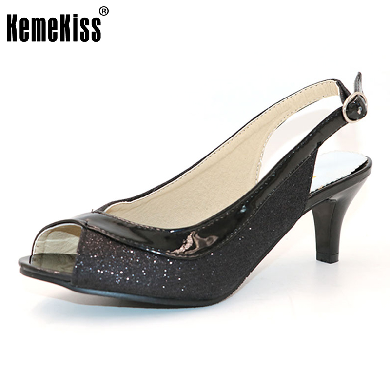 KemeKiss  Women Peep Open Toe High Heel Sandals Thin Heels Wedding Shoes Woman Back Strap Heeled Footwear Size30-46 PA00328 cdts 35 45 46 summer zapatos mujer peep toe sandals 15cm thin high heels flowers crystal platform sexy woman shoes wedding pumps