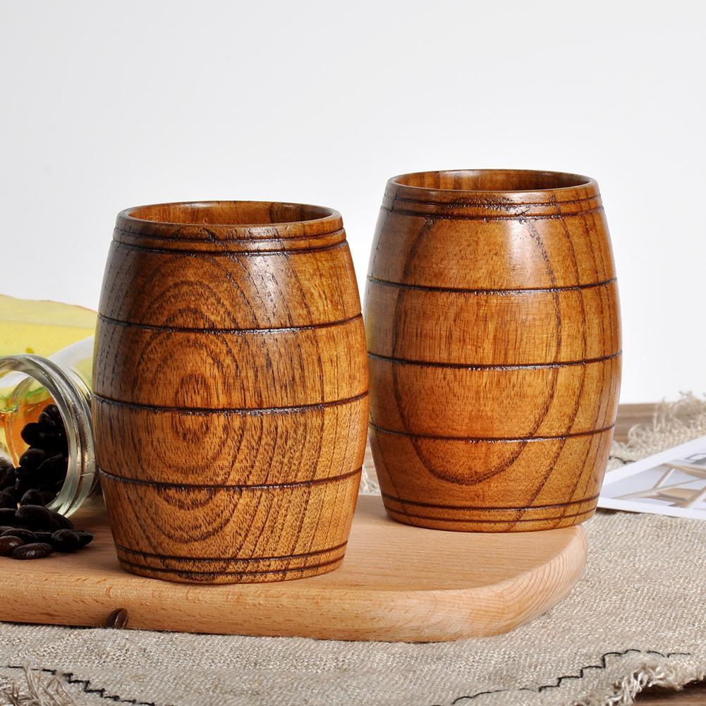 Vat Vorm Houten Bier Thee Melk Cup Gesneden Home Kitchen Bar Pub Drinkware Gift Prijs Blijft Stabiel