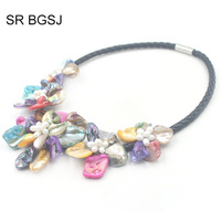Free Shipping Colorful Pearl Shell Wedding Jewelry Pearl Beads Choker Statement Necklace 18inch