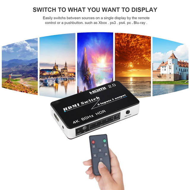 US $29 46 53% OFF|5 Port 18Gbps HDR 4K HDMI Switch 5x1 Support HDCP 2 2  Mini HDMI 2 0 Switcher HUB Box With Auto & IR Remote Control For Apple  TV-in