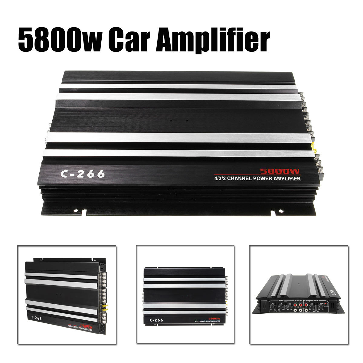 5800W 4 Channel Car Amplifier C-266 12V Aluminum Stereo Audio Amplifier 360 Dgree Sound for Home Car Auto Stereo Boat Motorcycle цена