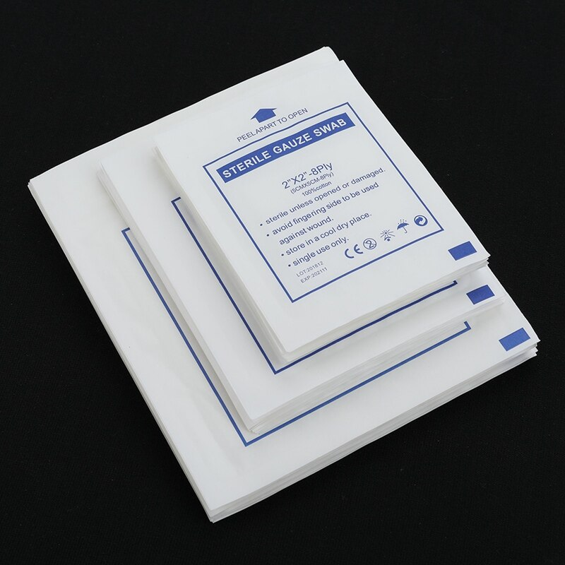 10pcs/lot  Gauze Pad 100%  Cotton  First Aid Waterproof  Wound Dressing  Sterile   Gauze  Pad Wound Care Supplies 3 Sizes