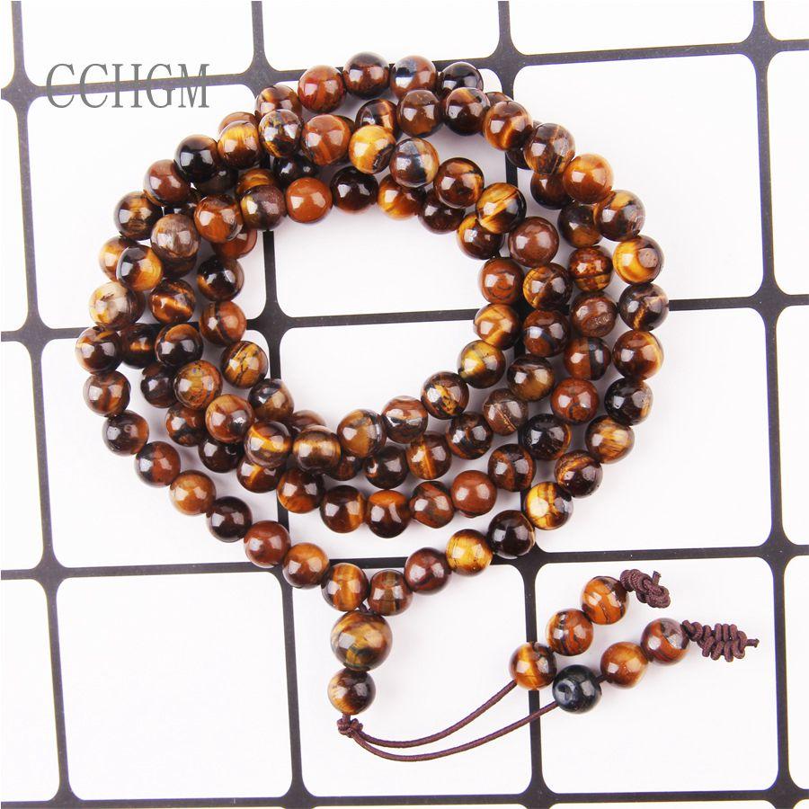 CCHGM al por mayor caliente 6mm 8mm Natural Ojo de Tigre Healing piedra budista 108 rebordea el collar de la pulsera de Mala para la meditación