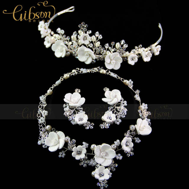 Free Shipping Silver Plated Austrian Crystal White Flower Bridal Jewelry Sets Including Necklace Earring and Crown Headband