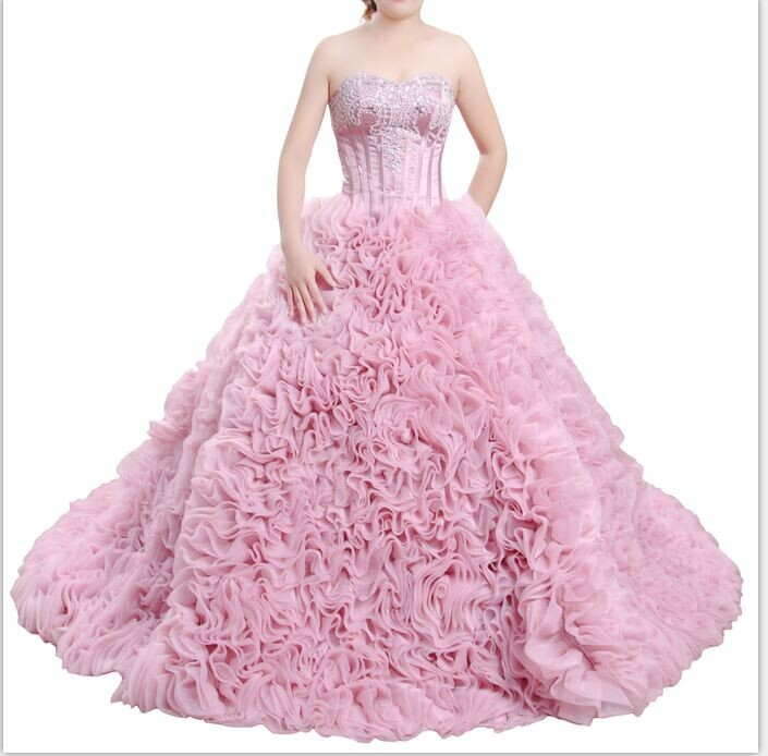 Flower Pink Quinceanera Dresses 2015 Strapless Ruffle Ball Gown ...