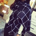 Lady Women Blanket Black White Plaid Cozy Tartan Checked Scarf Wraps Shawl