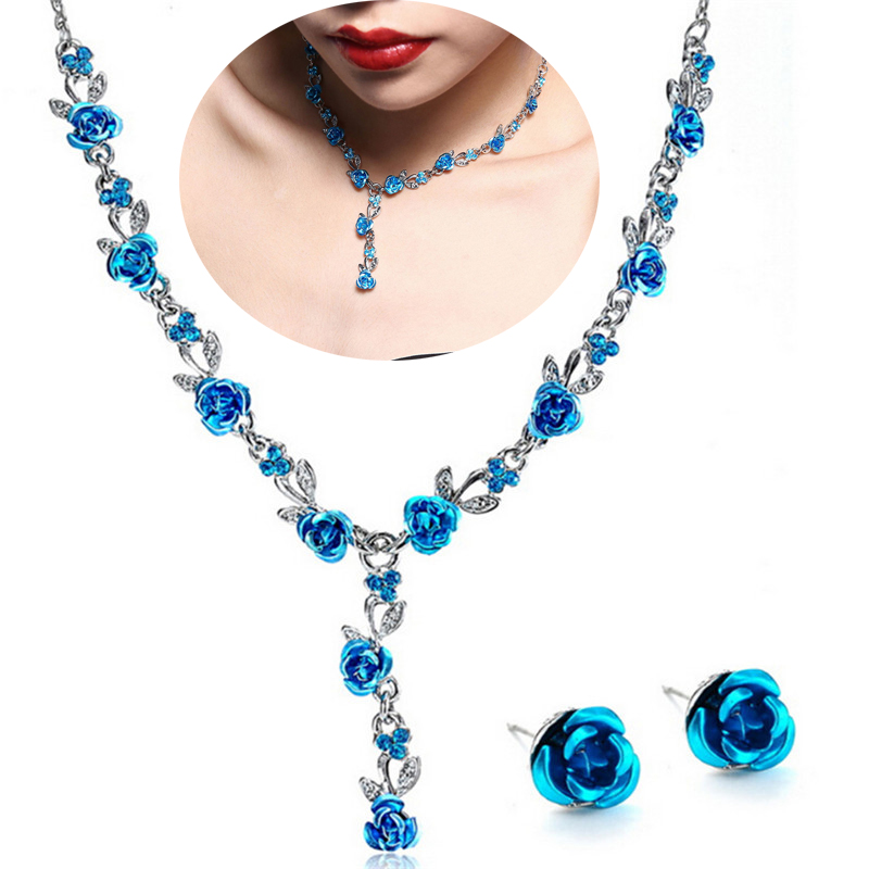 Intellective Turkish Enamel Flower Pendant Jewelry Sets Vintage Jewelry Sets Colar Silver Plate Princess Hooks Long Necklace Earrings Set For Fast Shipping