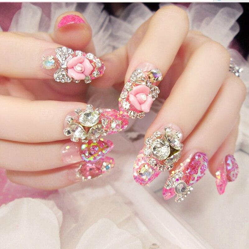 buy 2017 24pcs set 3d false nails crystal rhinestone glitter tips bridal nail. Black Bedroom Furniture Sets. Home Design Ideas