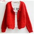 Mujeres grandes botones grueso salvado de la capa del suéter corto estilo lindo reflesh causal classic tops
