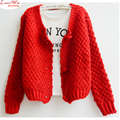 women big buttons thick bran short sweater coat  cute style reflesh causal classic tops
