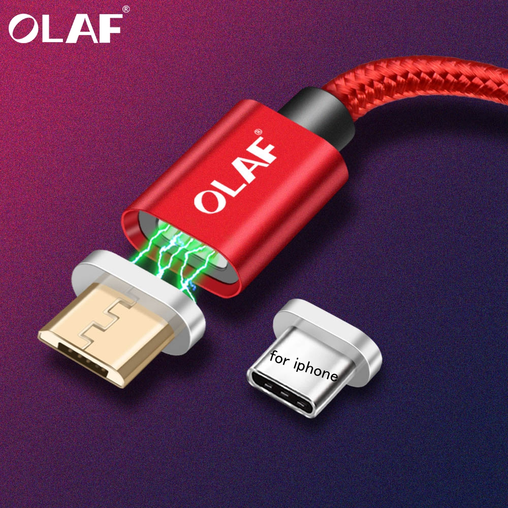 OLAF Magnetic Cable For iPhone Xs MAX Xs Xr X 7 8 Plus Fast Charging Micro USB Cable Type-C Magnet Charger for Huawei Xiaomi LG