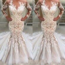 Appliqued Lace Tulle Wedding Dresses Long Sleeve Sweep Train vestidos de novia 2019 Mermaid Wedding Gown