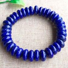 Naturalny niebieski Lapis Lazuli elipsy kamień bransoletka rzemiosło koraliki 9/12mm mężczyźni biżuteria Gem kamień bransoletki dla kobiet prezenty