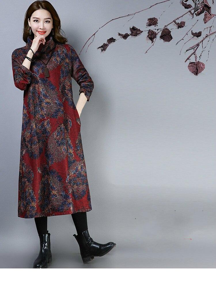 2019 New Women Spring Autumn Dresses Turtleneck Printed Female Long Sleeve Vintage Robe Dress Vestido 57