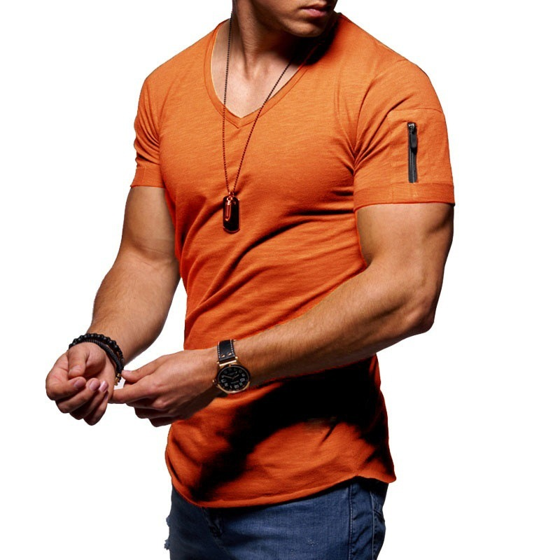 ALI shop ...  ... 32995233403 ... 5 ... 2020 fashion men's T-shirt Slim custom T-shirt brand design fashion luxury V-neck fitness casual T-shirt arm zipper T-shirt men ...