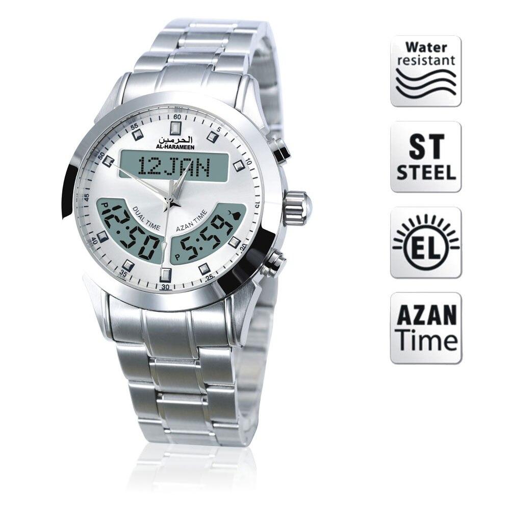 Reloj Azan, alharameen, islámico, Qibla, reloj de brújula de oración, reloj musulmán regalos islámicos-in Relojes de mesa y de escritorio from Hogar y Mascotas    1