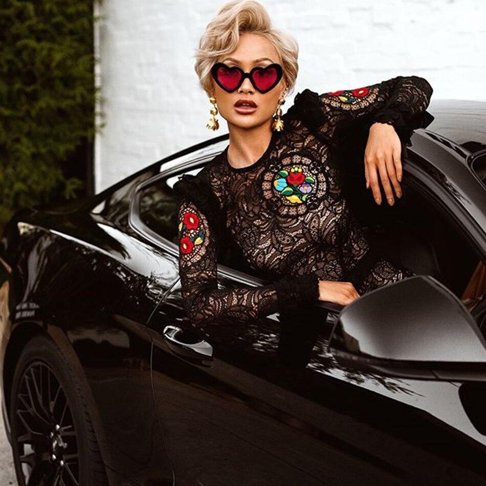 2019 nuevas mujeres primavera ajustado vendaje negro encaje flores rodilla largo cuello redondo vestido Clubwear celebridad vestido de fiesta Mujer es Todo-in Vestidos from Ropa de mujer    2