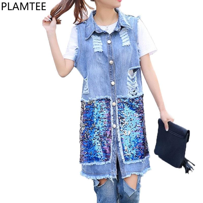 PLAMTEE street fashion Sequins Patchwork long denim vest basic gilet Frayed holes Waistcoat for women sleeveless colete feminino denim