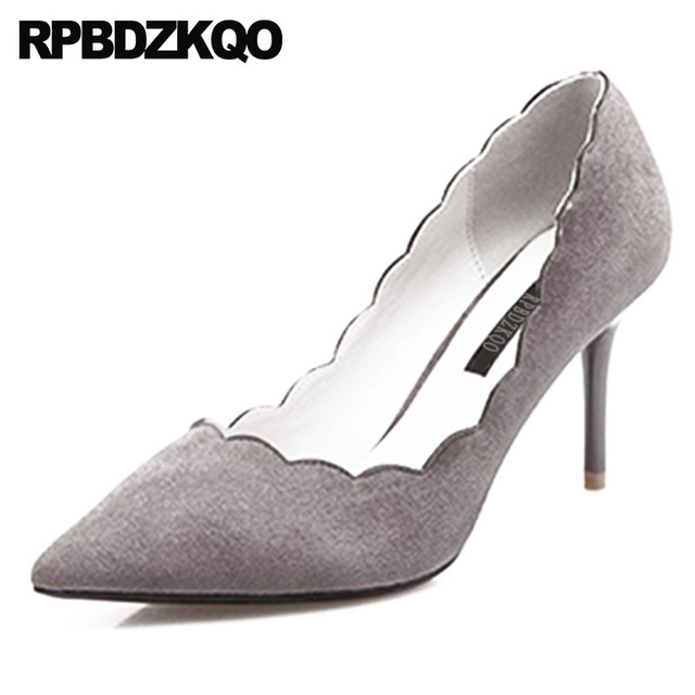 Green Shoes For Women Pumps Thin Unique Suede Gray Fashion Pointed Toe Size  4 34 3 Inch High Heels 2018 Prom 8cm Party Stiletto 293b00fcd58c