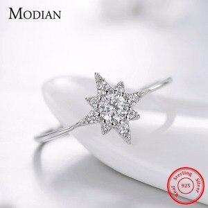 Modian, 100% Стерлинговое Серебро 925 пробы, капли воды, кольца с подсолнухом, модные простые прозрачные CZ кольца со стрелками для женщин, вечерние ювелирные изделия для свадьбы