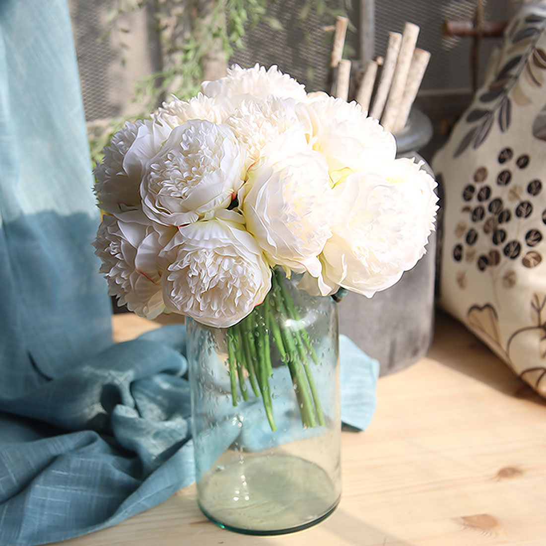 Artificial flowers peony dahlias 5 heads silk flower wedding bouquet application holidaywedding partymonthers daychristmas dayvalentines day thanksgiving daynew year birthday gift and so on izmirmasajfo
