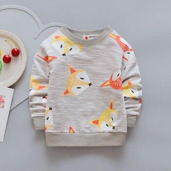 2018 Boys Girls Casual Coat Cartoon Animal Fox Pattern Girls Hoodies Outwear Spring Children's Clothing Kids Long Sleeve T-shirt 1