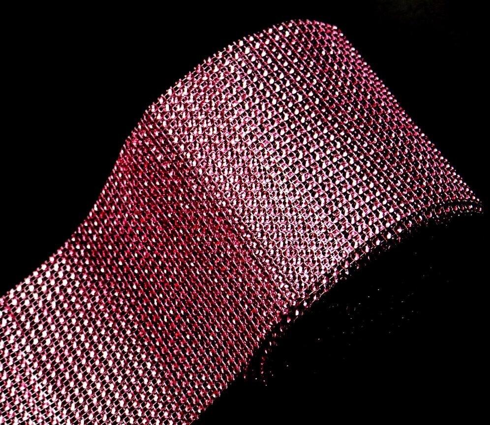 10Yard 24row Pink Bendable Diamond Mesh Wrap Roll Sparkle Rhinestone Trim Ribbon For Wedding Gift Party Craft Decoration