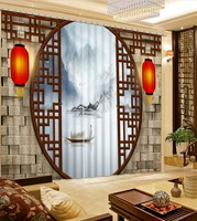 Chinese style 3D Curtains Landscape Window Decoration Curtains In The Living room White Curtain