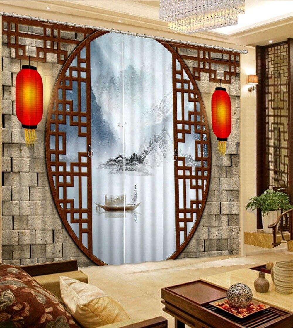 Style chinois 3D rideaux paysage fenêtre décoration rideaux dans le salon rideau blanc
