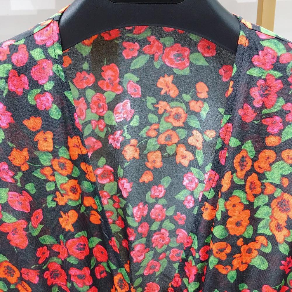 النساء اللباس 2019 الأحمر طباعة طويلة الأكمام الخامس الرقبة رومانسية مزاجه الحرير البسيطة اللباس-في فساتين من ملابس نسائية على  مجموعة 3