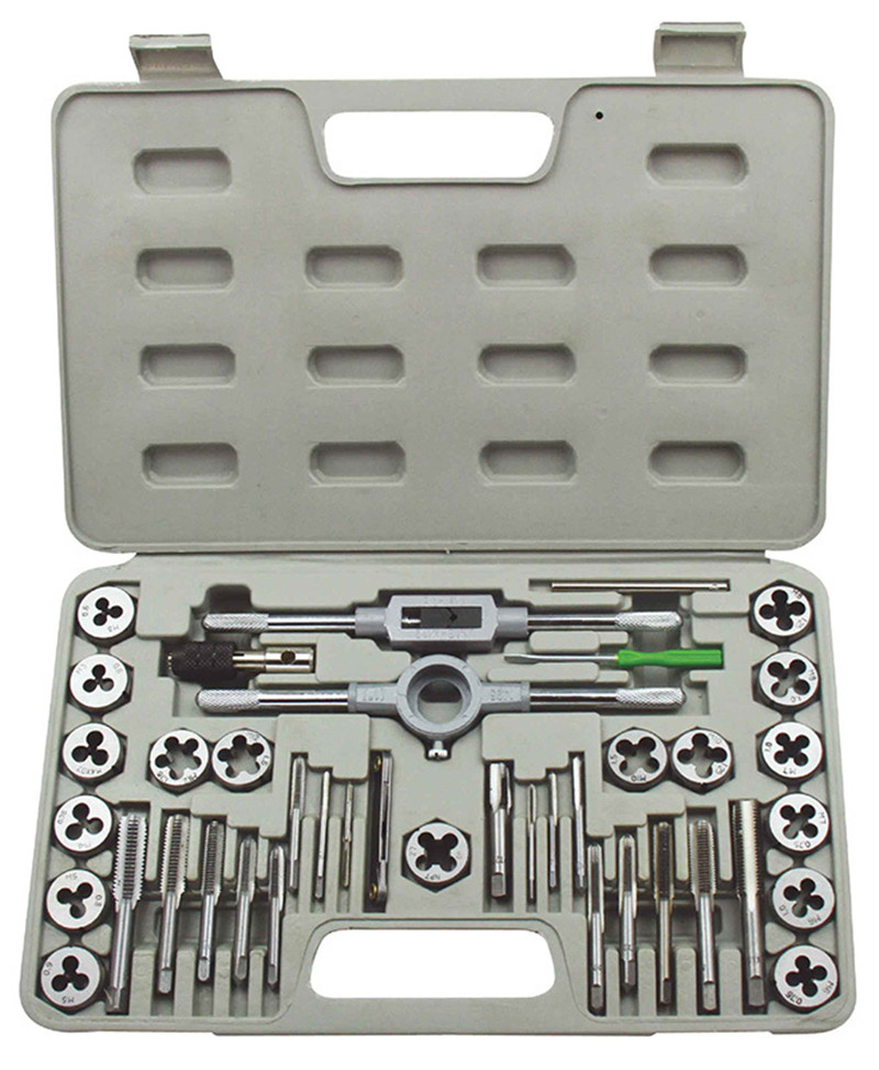 40Pcs Tap and Die Set Wrench M3 M12 Screw Thread Metric Plugs Hand Screw Taps Hand
