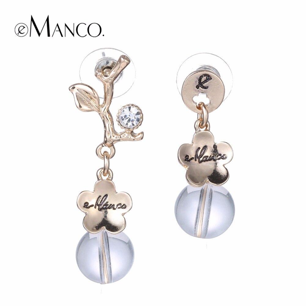 eManco Asymmetry Trendy Flower Statement Push-back Stud Earrings for Women & Girls Crystal Pendant Jewelry & Accessories