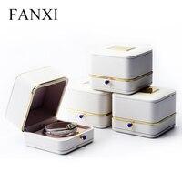 FANXI לבן קופסא תכשיטי עור PU עם סביב מתכת של תיבת אריזת תכשיטי צמיד/קבלה