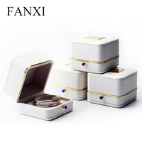 FANXI High Quality White PU leather Jewelry box with Metal surrounding of Ring Pendant bracelet box Jewelry packaging Showcase