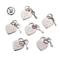 Pingentes de Aço Inoxidável 316, para Presentes do Dia das Mães, coração & Chave, com As Palavras, Cor De Aço inoxidável, 22x13.5x1.5mm, furo: 5mm;