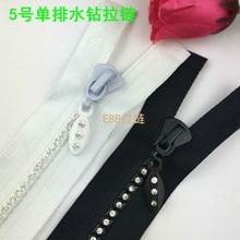 2 Pcs/lot Plastic Resin Diamond Stone Zipper Black or White Apparel Decorative Zippers Fasteners Sewing Accessories Wholesale