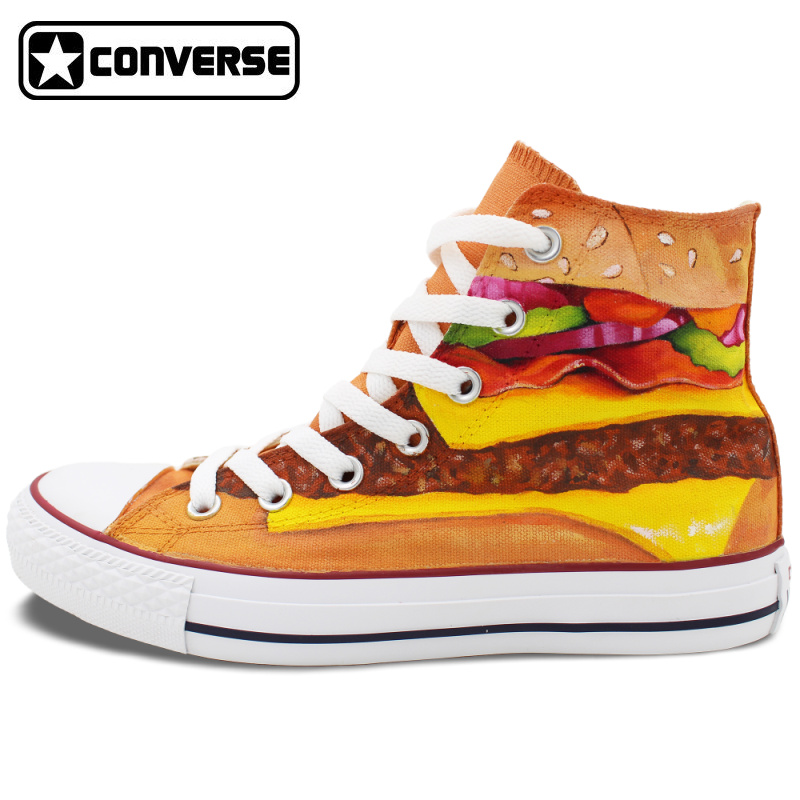 Unique Hand Painted font b Shoes b font Converse Chuck Taylor Hamburger High Top Canvas Sneakers