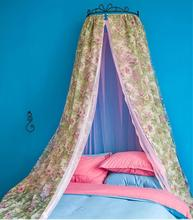 Luxury palace princess style mosquito net floral printing bed mantle curtain valance insect screen hollow iron frame