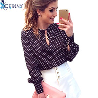 Long Sleeve Women Shirt Blouses Polka Dot Vintage Chiffon Ladies Tops Femininas Blusa