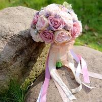 Lusso 2 Colori Falso Artificiale PE Rosa A mano azienda Bouquet Pearl Spilla Fiore del nastro Per La Cerimonia Nuziale Della Sposa Casa Decor