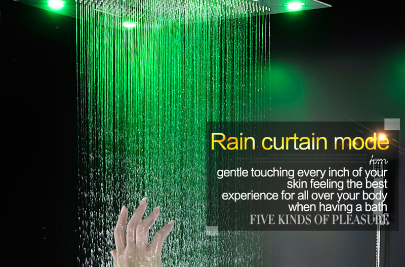Luxury Led Rain Shower Head Large Rain LED Shower Set with Waterfall Shower Head with Embedded Ceiling 600x800 Rainfall Spout (19)